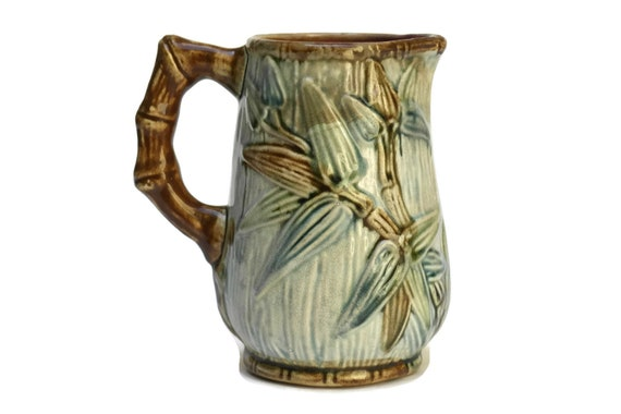 Antique Majolica Bamboo Water Pitcher, French Green Ceramic Jug