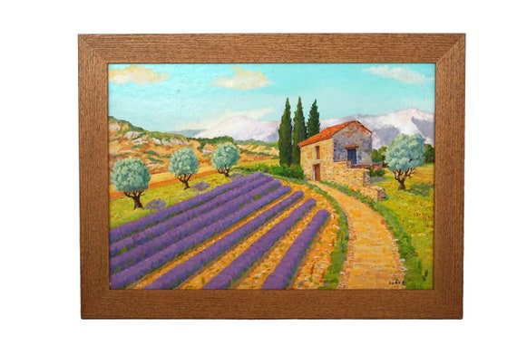 French Lavender Fields Painting, Framed Provence Country Landscape Wall Art