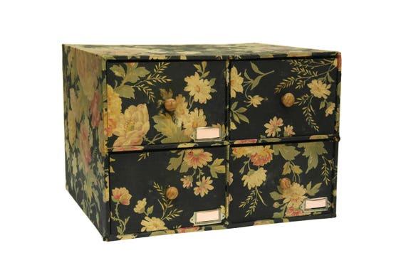 French Vintage Sewing Box. Large Shabby Needlework Craft Storage Box.