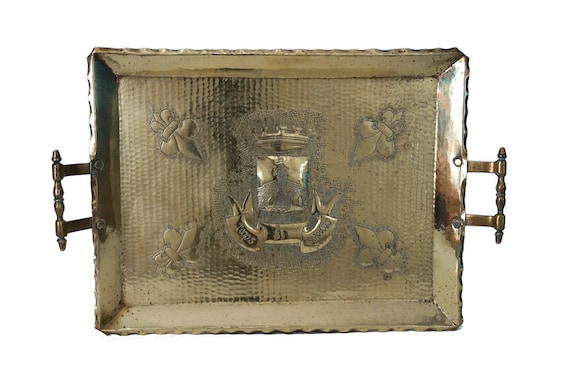 Antique Brass Serving Tray with Crown, Castle and Fleur de Lys, French Chateau Decor