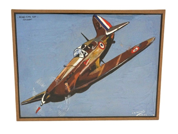 Vintage French Dewoitine D520 Airplane Painting, Gouache on Paper, Military Collectible, Mid Century Wall Art