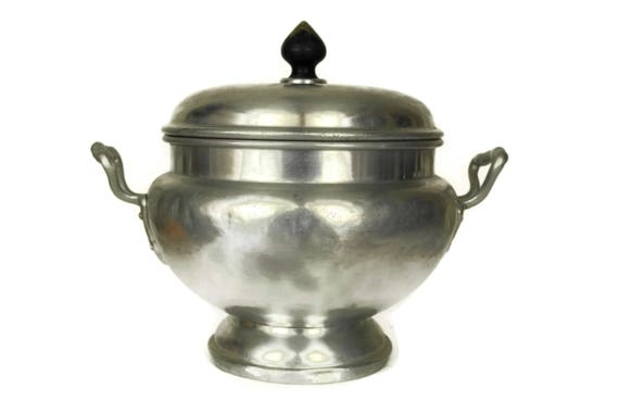 French Antique Aluminium Soup Tureen, Casserole Dish with Lid, Rustic Table Decor, Country Kitchen Fruit Bowl