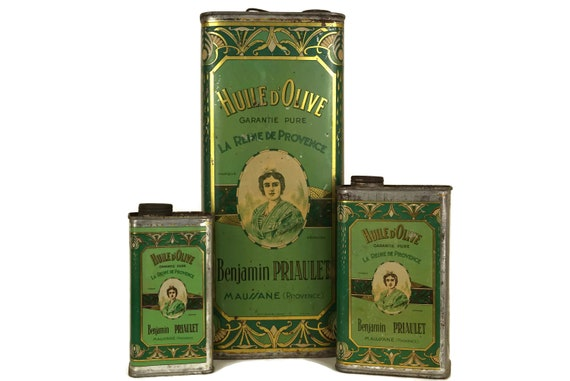 Antique French Olive Oil Tins, Set of 3 Advertising Cans, Rustic French Provence Kitchen Decor