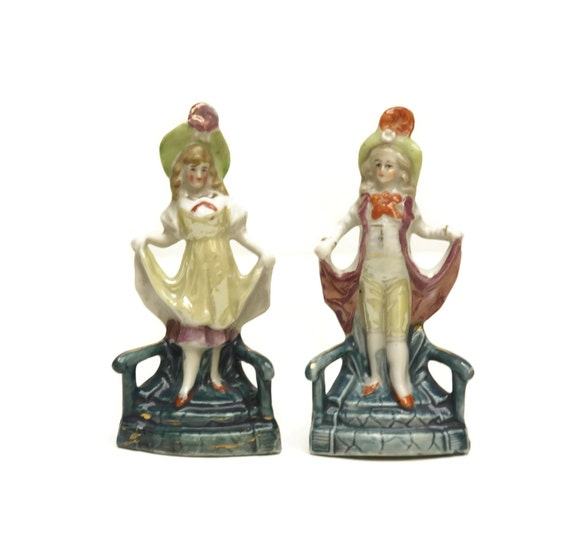 Antique German Porcelain Figurines, Miniature Boy and Girl Doll Figures, Collectible Marquis and Marquise Porcelain Statuettes, Gift for Her