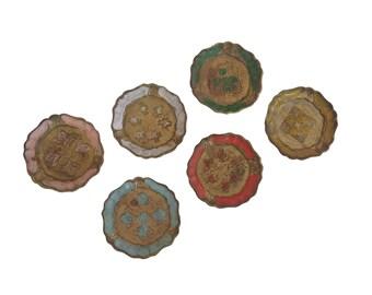 Vintage Florentine Drinks Coasters, Set of 6, Mid Century Italian Bar Decor