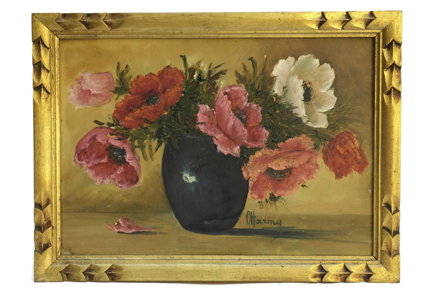 Poppy flower still life painting french flowers in vase original poppy flower still life painting french flowers in vase original framed art romantic floral home decor gifts mightylinksfo