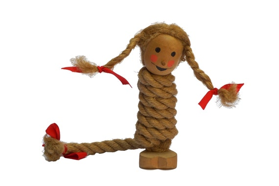 Vintage Wooden Folk Spiral Troll, Norwegian Lucky Charm Gnome Doll