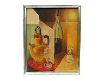 Mid Century Cubist Painting of Liquor Bottles and Wine Glasses, Original Still Life Art, Bar Wall Decor