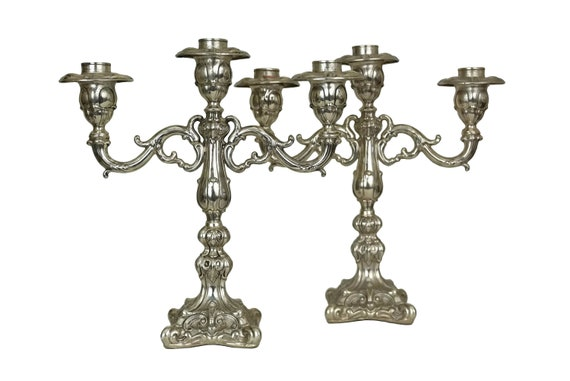 Camusso Sterling Silver Candelabra Pair, Vintage Peruvian 3 Branch Candlestick Holders