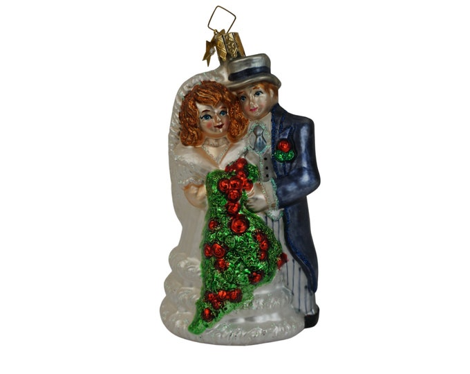 Vintage German Glass Wedding Couple Christmas Tree Ornament with Bride and Groom by Kathe Wohlfahrt