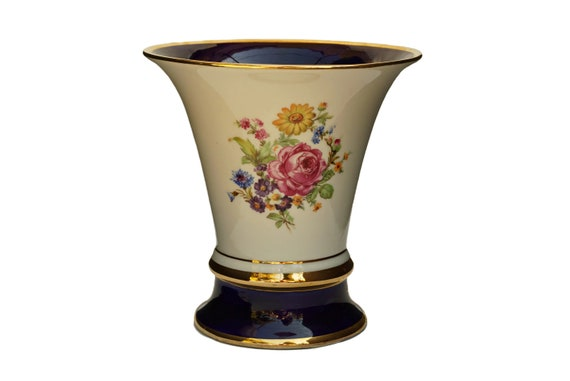 Royal Dux Trumpet Porcelain Vase, Bohemian Decor