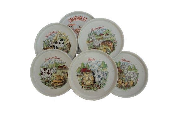 French Porcelain Cheese Plates, Set of 6 for Brie, Camembert, Roquefort and Emmental with Cows and Goats