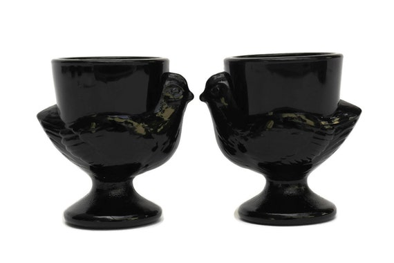 Glass Chicken Egg Cups. Pair of Vintage  Molded Black Glass Egg Holders.