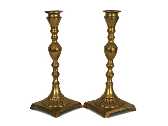 Vintage French Brass Candle Stick Holders, Pair of Candlestick Pillars