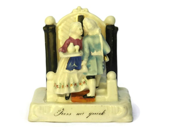 Antique China Fairing Kiss Me Quick. Victorian Porcelain Figurine.