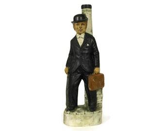 French Vintage Ceramic Decanter. Garnier Liqueur Bottle of Man in Bowler Hat.