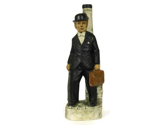 French Vintage Ceramic Decanter. Garnier Liqueur Bottle of Man in Bowler Hat.