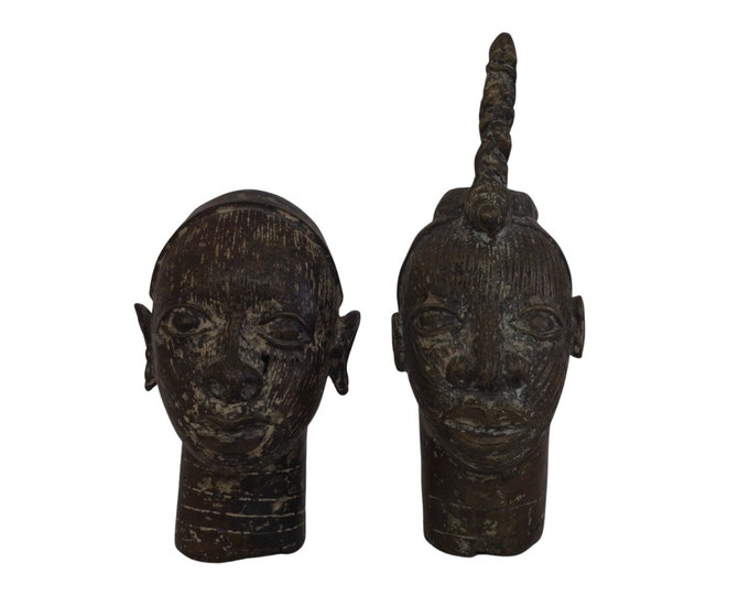 Bronze Yoruba King and Queen Couple Head Statues, Vintage African Man and Woman Art, Tribal Home Decor