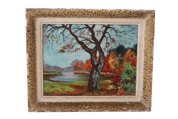 Fall Landscape Painting with River and Trees, French Woodland Art