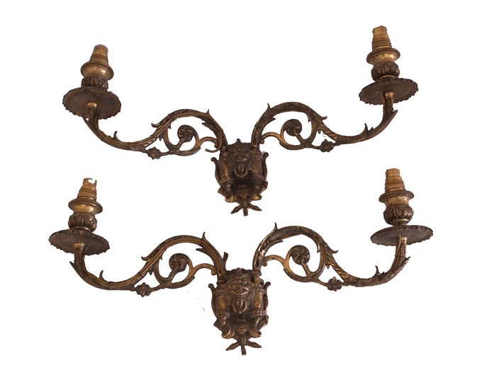 Antique Bronze Piano Candle Sconce Pair with Lion Head Figurines, French Candleholder Wall Lights