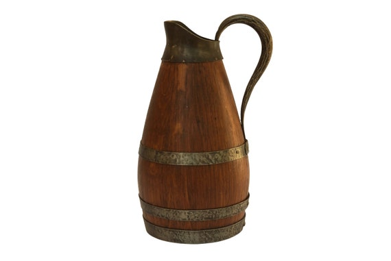 French Pewter and Oak Wood Wine Pitcher, Rustic Wooden Bar Decor