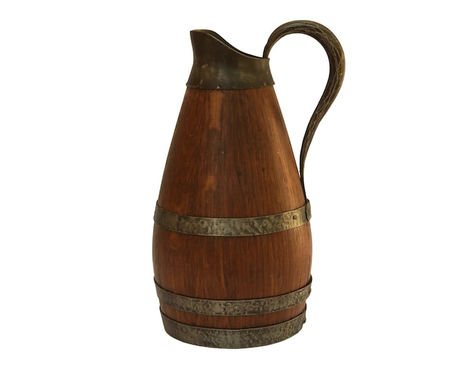Pewter and Oak Wood Wine Pitcher, French Rustic Wooden Bar Decor