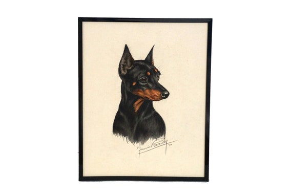 Doberman Pinscher Portrait Painting by Maurice Brailly,  Signed Original Dog Art