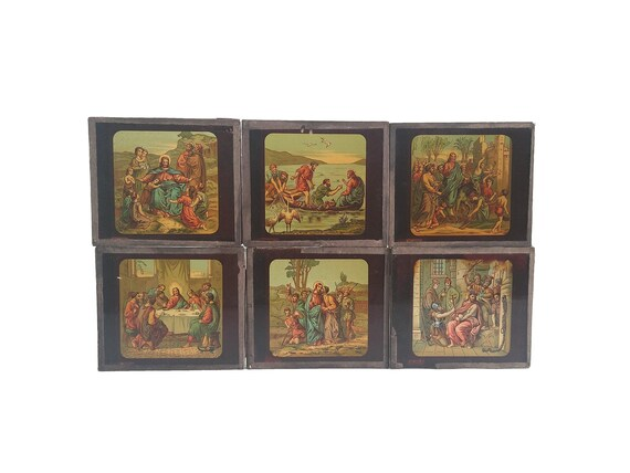Antique Magic Lantern Glass Projector Slide Collection of the Passion of Christ, Set of 6, French Christian Collectibles