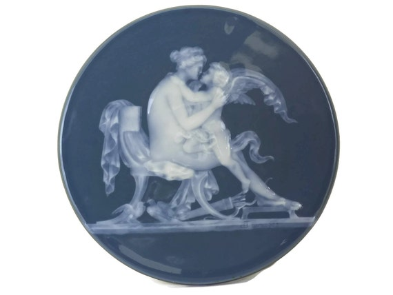 Limoges Porcelain Pate Sur Pate Plaque with Cupid and Psyche