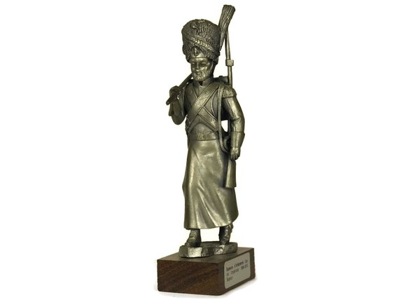 Pewter Soldier Figure. French Etains du Prince. Vintage Collectible Military Model Figurine of Imperial Guard Sapper. Gifts For Him.