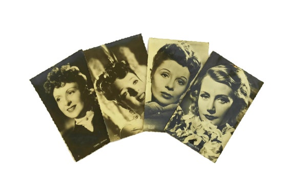 French Cinema Actress Postcards, Vintage Hollywood Glamour Photo Portrait