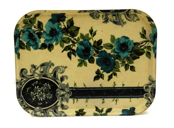 Blue Flower Serving Tray. Fabric and Fiberglass Drinks Tray.