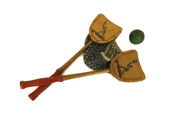 Vintage French Wood Paddle and Net Toy, Le Volball Ball Toss Catch Game, Gifts for Kids, Collectible Sports Decor