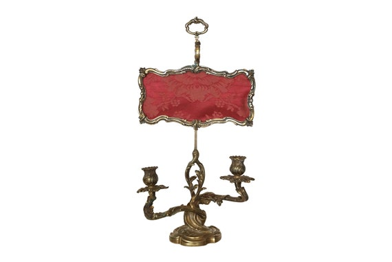 Antique French Candle Holder with Screen by Victor Saglier, Louis XV Style 2 Branch Candelabra Lamp