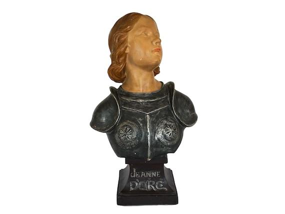 Antique Joan of Arc Portrait Bust, French Saint Jeanne d'Arc Head Statue