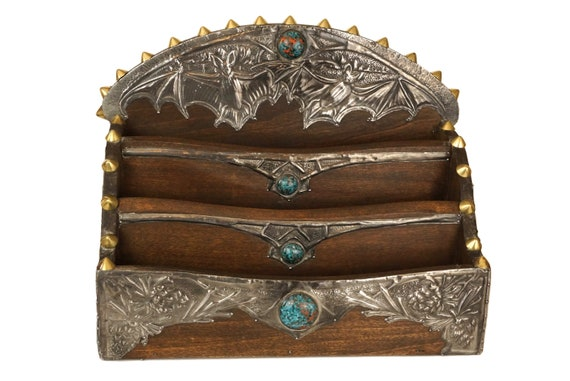 Antique French Gothic Letter Holder with Bats, Arts and Crafts Wood and Metal Mail Organizer