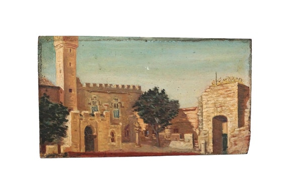 French Castle and Tree Painting, Medieval Architecture Art