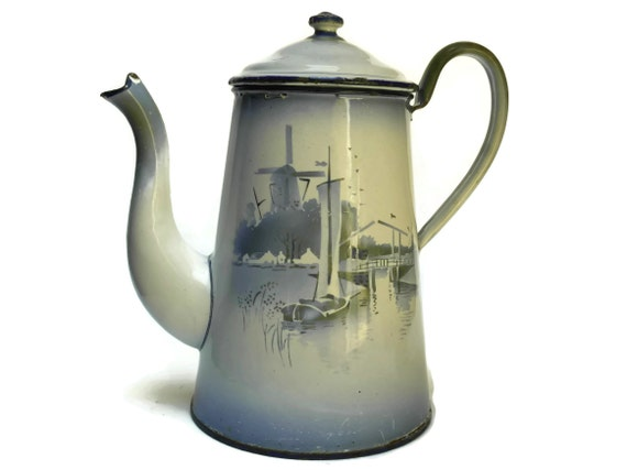 French Enamel Coffee Pot with Windmills. White and Blue Country Kitchen Decor. Vintage Enamelware Teapot.