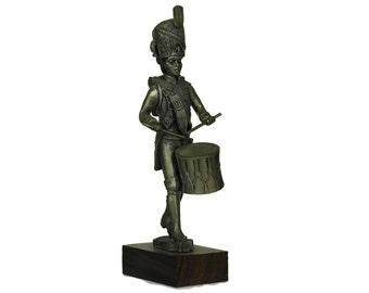 Vintage Pewter Soldier Figurine. French Etains du Prince. Collectible Military Model Figure of Grenadier Drummer. Gifts For Him.