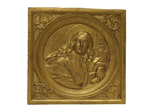 Antique Saint John Wall Plaque, French Religious Art