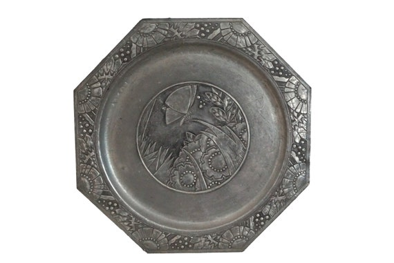 Art Deco Pewter Charger Plate with Butterfly and Flowers, Antique French Geometric Wall Decor