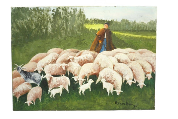 shepherd with Sheep and Lamb in Country Landscape Painting, French Provence Art
