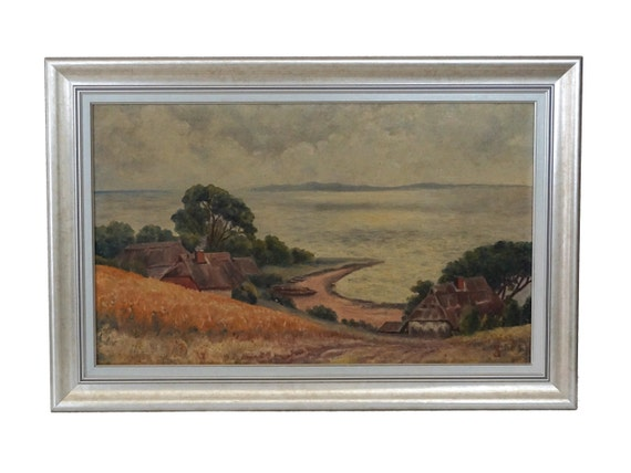 French Coastal Landscape Painting with Breton Fisherman Beach Cottages, Antique Framed Nautical Sea Art