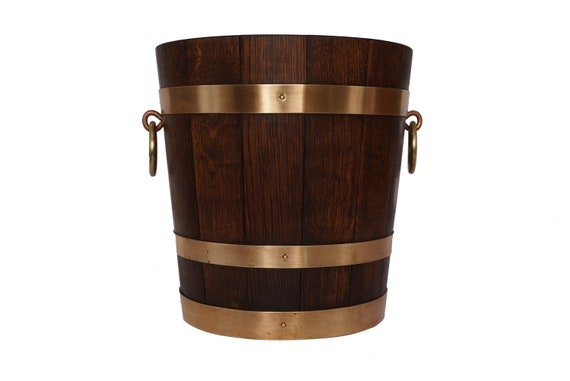 French Wood and Brass Champagne Cooler, Wooden Oak Barrel Ice Bucket by Geraud Lafitte