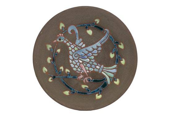 Mid Century Ceramic Bird Plate by Saint Cannat, French Enamel Studio Art Pottery