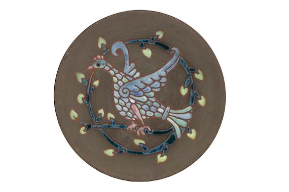 Mid Century Ceramic Bird Plate by Saint Cannat, French Enamel Studio Art Pottery
