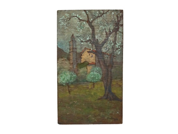 French Country Church Painting in Country Landscape with Trees, Rustic Provence Wall Art