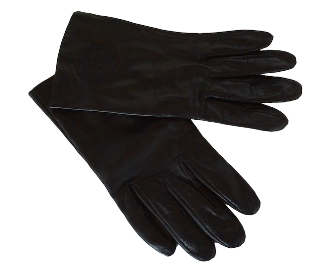 Vintage Christian Dior Leather Gloves, Embroidered Lambskin, French Luxury Designer Fashion Gifts