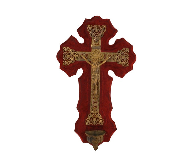 Antique Wall Hanging Crucifix with Holy Water Font, French Gothic Red Velvet Cross with Jesus Figurine
