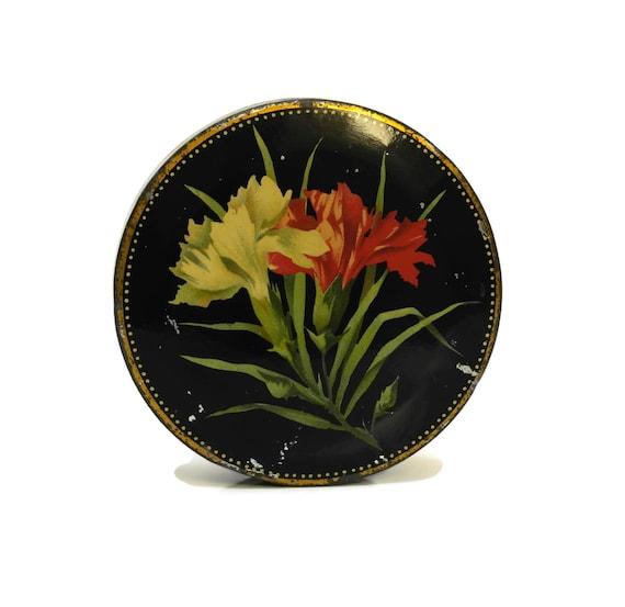 French Vintage Sweet Tin box, Romantic Boudoir Decor, Art Deco Trinket Dish